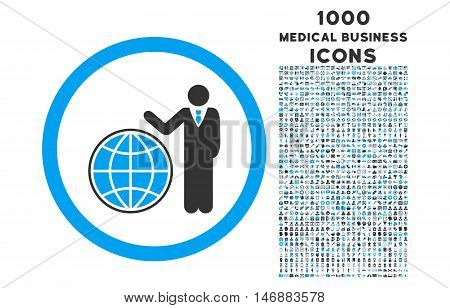 Global Manager rounded glyph bicolor icon with 1000 medical business icons. Set style is flat pictograms, blue and gray colors, white background.