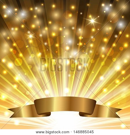 golden sparkling background with radiance and ribbon. vector illustration