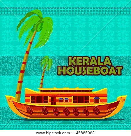 easy to edit vector illustration of Indian Kerala Houseboat representing tourism in India