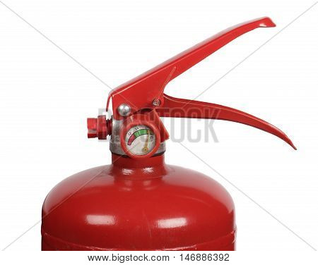 Fire extinguisher with manometer isolated on white background