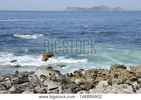 Cies Islands seen from Baiona in Galicia Spain.