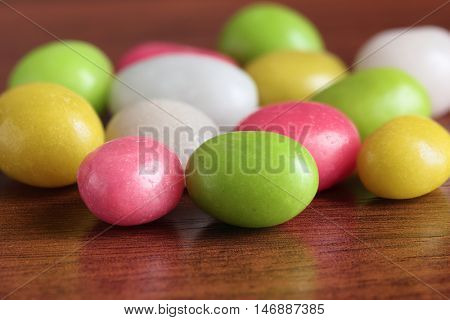 Close up of the multicolor round candies