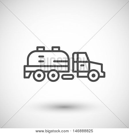 Sewage truck line icon isolated on grey. Vector illustration