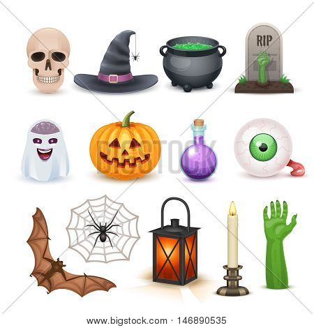 Awesome Happy Halloween elements isolated on white