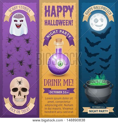 Happy Halloween vertical banners. Three types of stylish banners for Halloween design.
