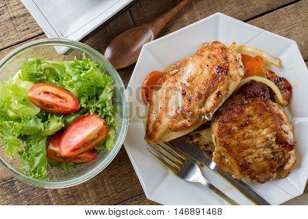 Food series : Pork and chicken steak with salad
