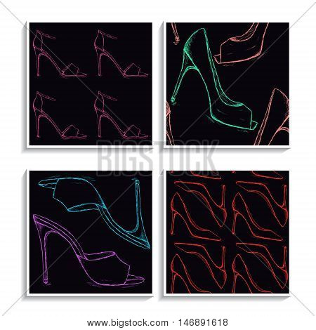 Shoes patterns set. High heels women footwear backgrounds collection. Doodle female pump shoe. Pencil effect vector. Trendy lady fashion illustration.