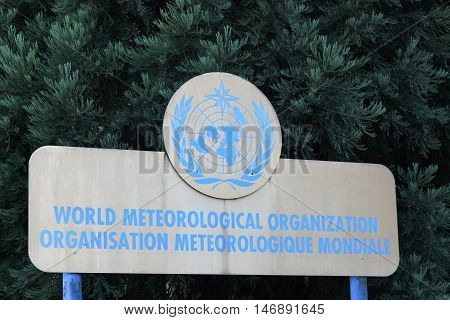 Geneva, Switzerland - August 14, 2016: The World Meteorological Organization also called WMO is an intergovernmental organization with a membership of 191 Member States and Territories