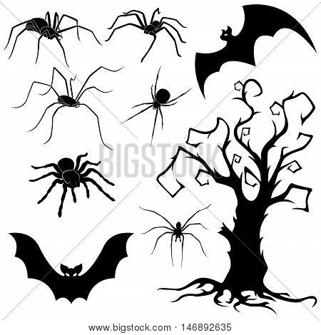Halloween silhouette set of spiders flying bats and old dried tree isolated on white background hand drawing vector illustration