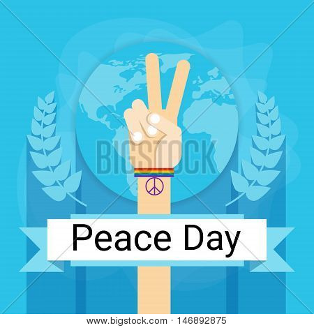 Hand Group Peace Sign World International Holiday Poster Flat Vector Illustration