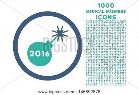 2016 Petard rounded glyph bicolor icon with 1000 medical business icons. Set style is flat pictograms, cobalt and cyan colors, white background.