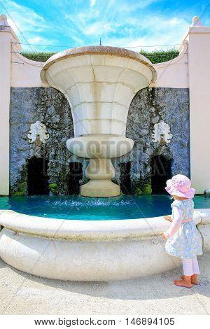 Hamilton, Nz - February 25, 2015: Garden Fountain In Hamilton Gardens