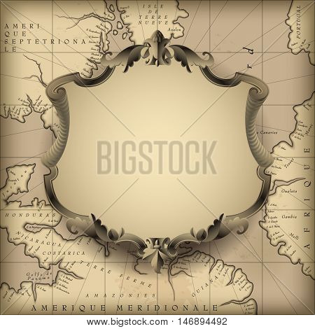 Vintage decorative frame against old geographic map background. Retro design element. Vector Illustration