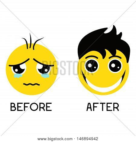 Sad balding emoticon before hair treatment and happy smiley with gorgeous hair after hair regrowth. Set of emoticons isolated on a white background. Hair care concept. Emoji vector illustration.