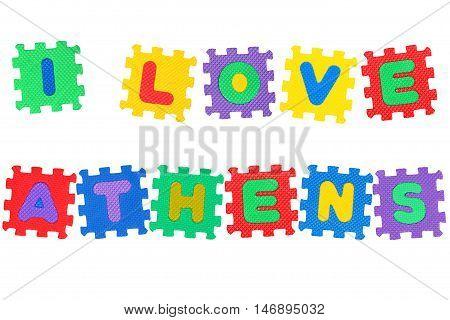 Message I Love Athens from letters puzzle isolated on white background.