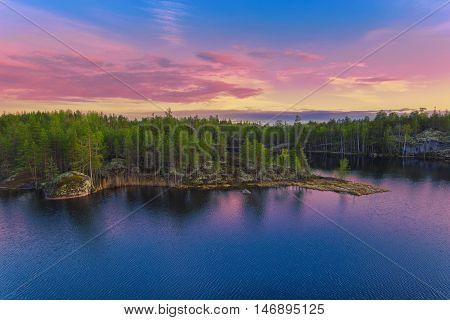 Colorful Landscape At Sunset Sunlight