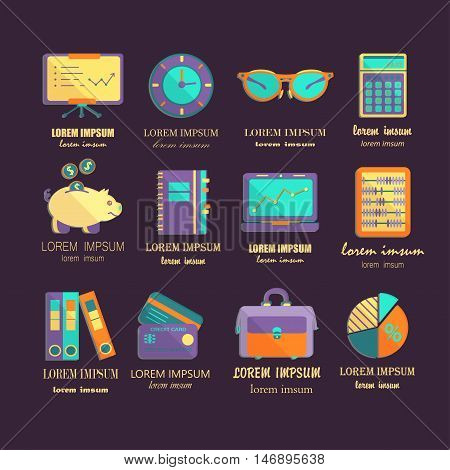 Bookkeeping vector flat icons. Finance, accounting and auditing, economic, business symbols. Business illustration.