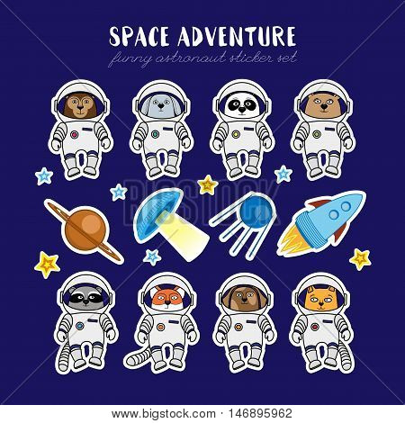 Set of cute animal astronauts, rocket, satellite, UFO, stars in cosmos stickers, cartoon style vector illustration. Stickers with cartoon animal cosmonauts in space suites, rocket, sattelite and ufo