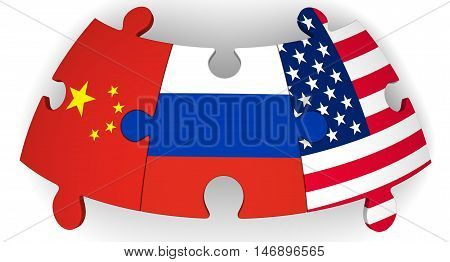 Cooperation of Russia, China and the United States of America. Puzzles with flags of the Russian Federation China and the United States of America on a white surface. The concept of coincidence of interests in geopolitics. Isolated. 3D Illustration