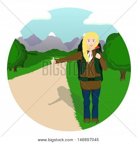 Vector illustration of hitch-hiker girl with backpack standing on the road in the mountains. Young woman traveler.