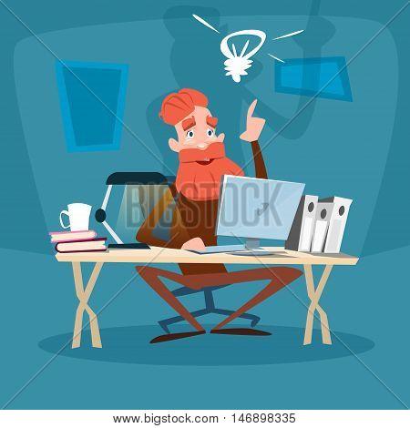 Senior Bearded Man Using Computer, Elder Businessman With New Idea Flat Vector Illustration