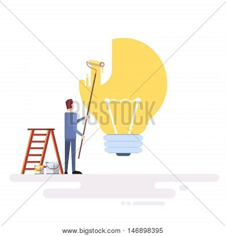 Business Man Draw Light Buld Ner Idea Concept Flat Vector Illustration