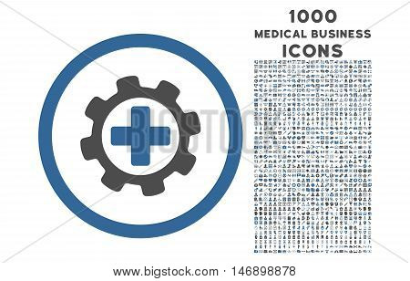 Medical Settings rounded glyph bicolor icon with 1000 medical business icons. Set style is flat pictograms, cobalt and gray colors, white background.