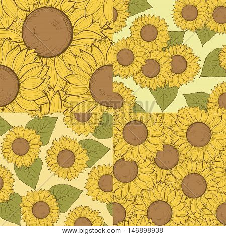 set of beautiful seamless background with sunflowers. Hand-drawn contour lines and strokes. Perfect for background greeting cards and invitations