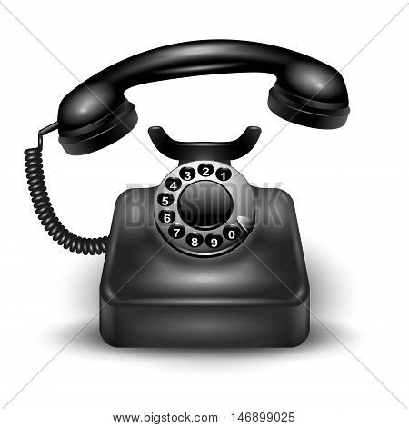 Black realistic telephone calling composition with shadows and highlights isolated on white background vector illustration