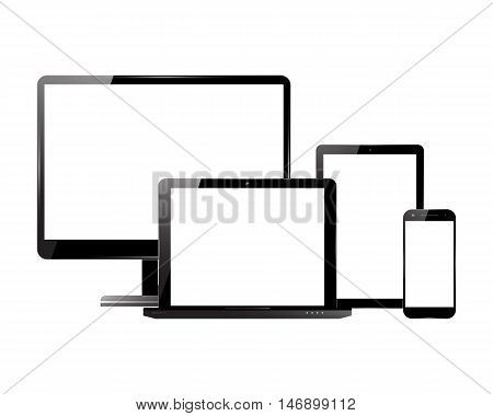 PC monitor, smartphone, laptop and computer tablet. Electronic devices with blank screens. Vector illustration.