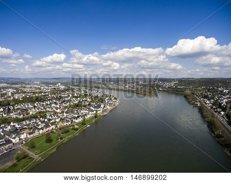 Koblenz City Germany with historic rhine valley water transportation