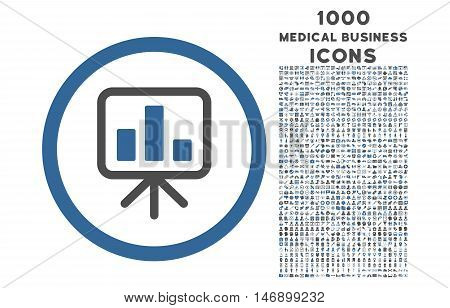 Slideshow Screen rounded glyph bicolor icon with 1000 medical business icons. Set style is flat pictograms, cobalt and gray colors, white background.