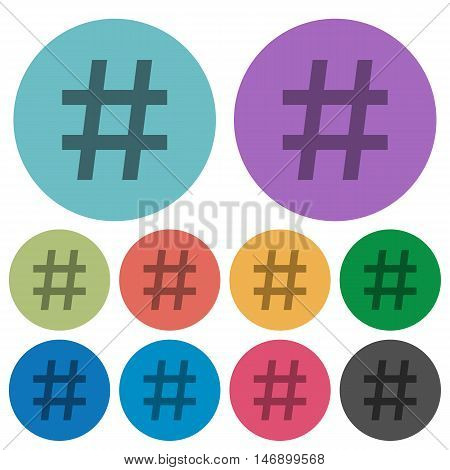 Color hashtag flat icon set on round background.