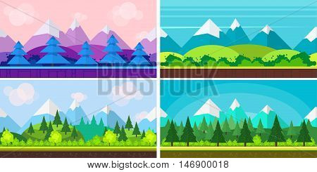 Set of seamless cartoon landscapes for game design, horizontal nature background. for your application , project, size 1024x512