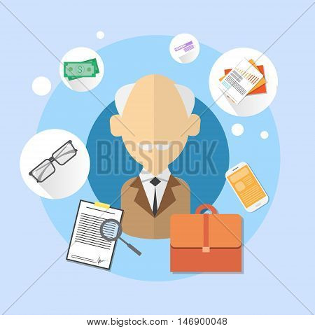 Pensioner Senior Man Bank Office Client Icon Flat Vector Illustration