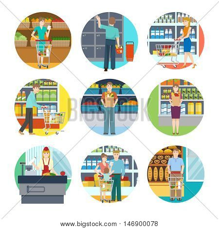 People in supermarket icons with young persons with goods in trolley bag or basket isolated vector illustration