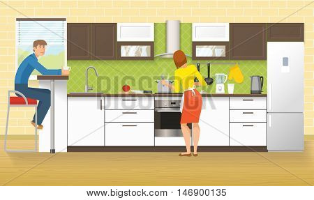 People at kitchen design with cupboards and cabinets domestic appliances green tile and laminated floor vector illustration