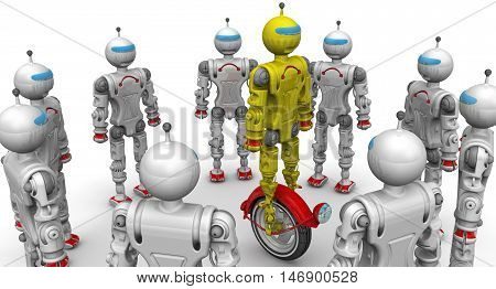 Robots are considering a new modification. Cyborgs are considering the yellow robot on unicycle standing on a white surface. Isolated. 3D Illustration