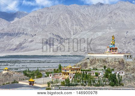 The 32 metre (106 foot) statue of Maitreya Buddha near Diskit monastery in Ladakh, India. The statue's construction was started in April 2006 and it was consecrated by the Dalai Lama on 25/07/2010.