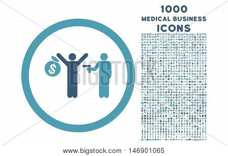 Robbery rounded glyph bicolor icon with 1000 medical business icons. Set style is flat pictograms, cyan and blue colors, white background.