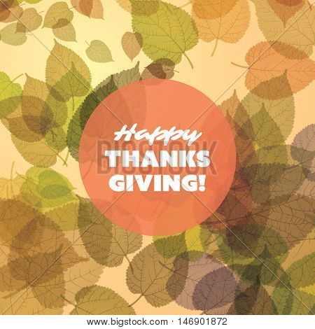 Happy Thanksgiving Card Design Template with Scattered Fallen Autumn Leaves, Round Transparent Label
