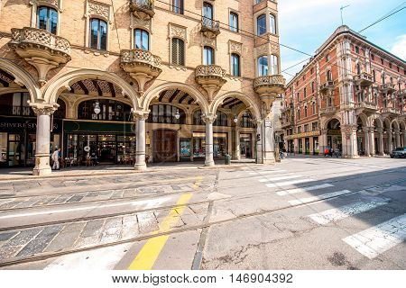 Turin, Italy - June 12, 2016: Cityscape view on the central street with beautiful buildings in Turin city in Piedmont region in Italy