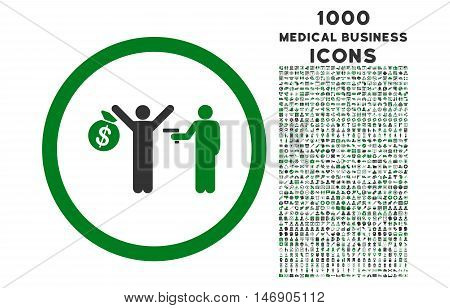 Robbery rounded glyph bicolor icon with 1000 medical business icons. Set style is flat pictograms, green and gray colors, white background.