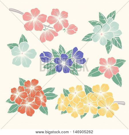 Beautiful Vector flowers set. Colorful floral collection with leaves and flowers Hand Draw Vintage . Spring or summer design for invitation wedding or greeting cards