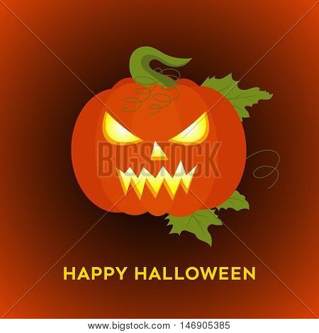 Awful pumpkin. Happy Halloween background. Vector illustration for poster card flyer or party invitation.