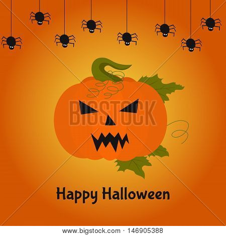 Terrible pumpkin. Happy Halloween card. Vector illustration for poster flyer or party invitation.