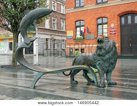 Fish and Lion. Puck, Poland September 05, 2016 Monument Fish and Lion at the main market in Puck.