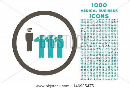 Army Squad rounded glyph bicolor icon with 1000 medical business icons. Set style is flat pictograms, grey and cyan colors, white background.