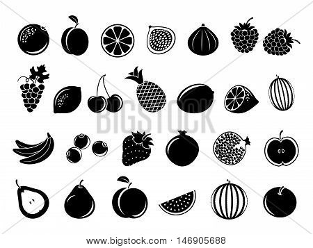 Black fruit icons. Set of fruit in monochrome style and tropical fruits of lemon and banana. Vector illustration