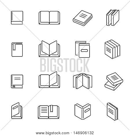 Books thin line icons vector. Book education signs, textbook literature linear symbols illustration